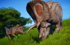 侏罗纪世界进化三角龙VS角鼻龙战斗视频