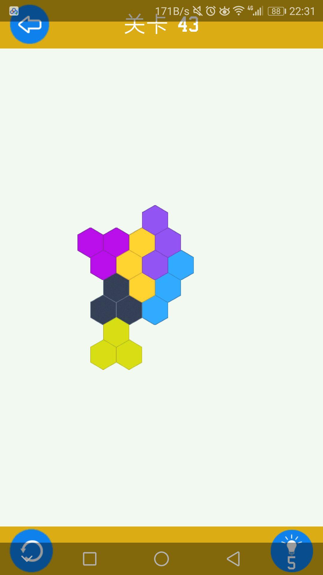 六边形拼图简单第43关通关攻略
