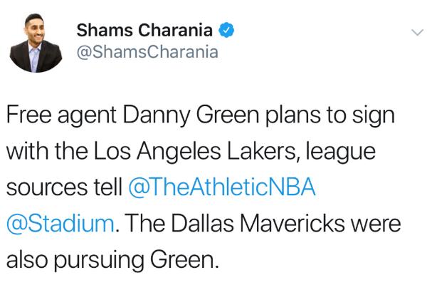 Shams:丹尼-格林2年3000万美元加盟湖人!