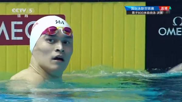 世锦赛800米自由泳决赛孙杨第六,遗憾无缘奖牌