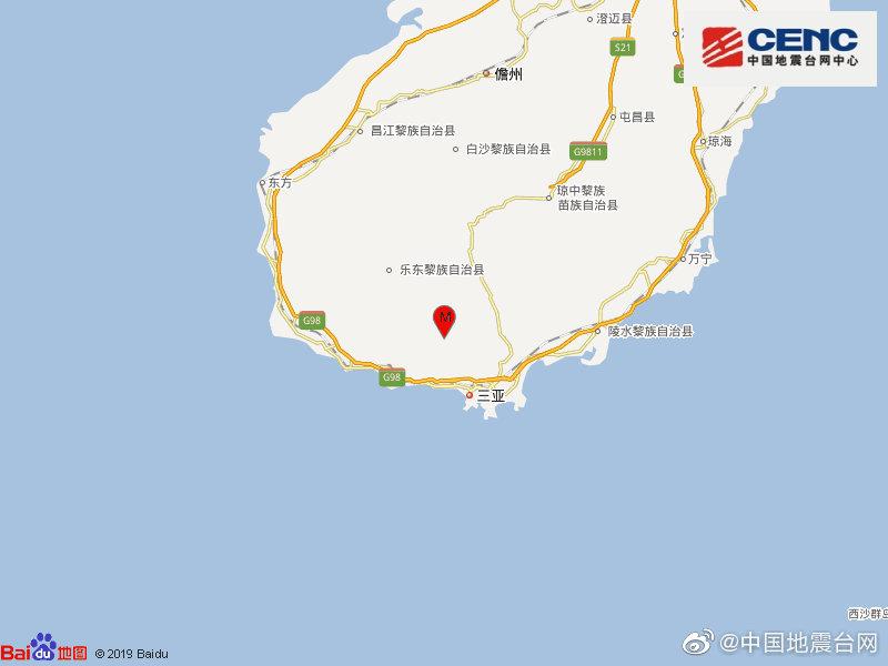 海南三亚市天涯区发生4.2级地震,震源深度12千米