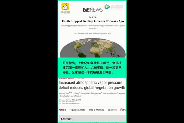 地球20年前已停止变绿!超过一半植被生长趋缓,与全球变暖有关