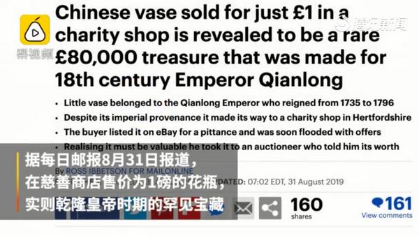 乾隆花瓶在英国被1磅卖出,鉴定后标价8万磅拍卖