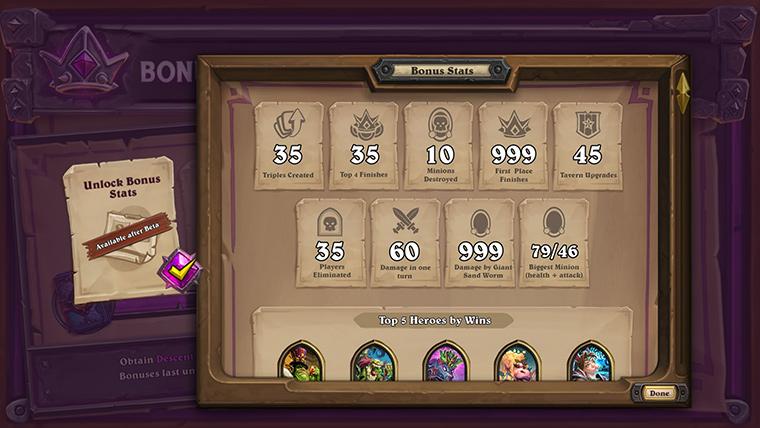 获取了10包卡牌包的玩家可以解锁《炉石传说:酒馆战棋》的综合状态记录功能(可在酒馆战棋排队界面中查看)