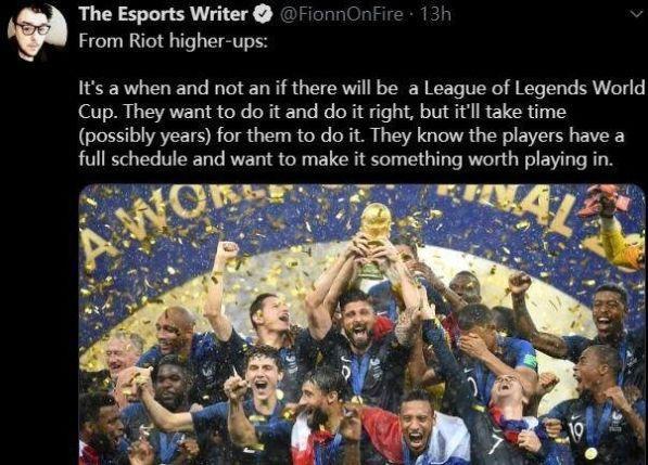 拳头确认将举办LOL世界杯,可能需要几年时间来筹备
