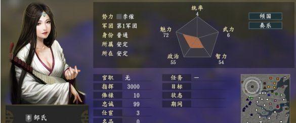 三国志14邹氏五维属性一览