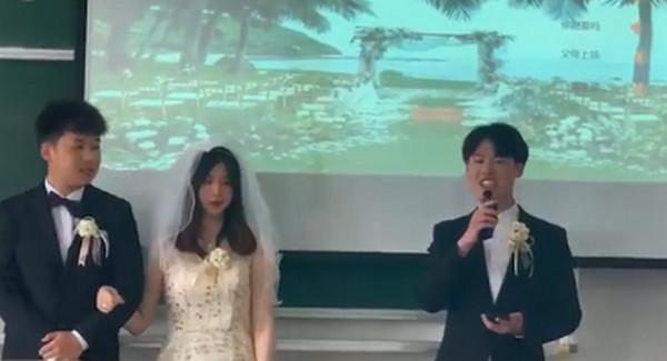 上海一高校期末考当堂办婚礼详情介绍